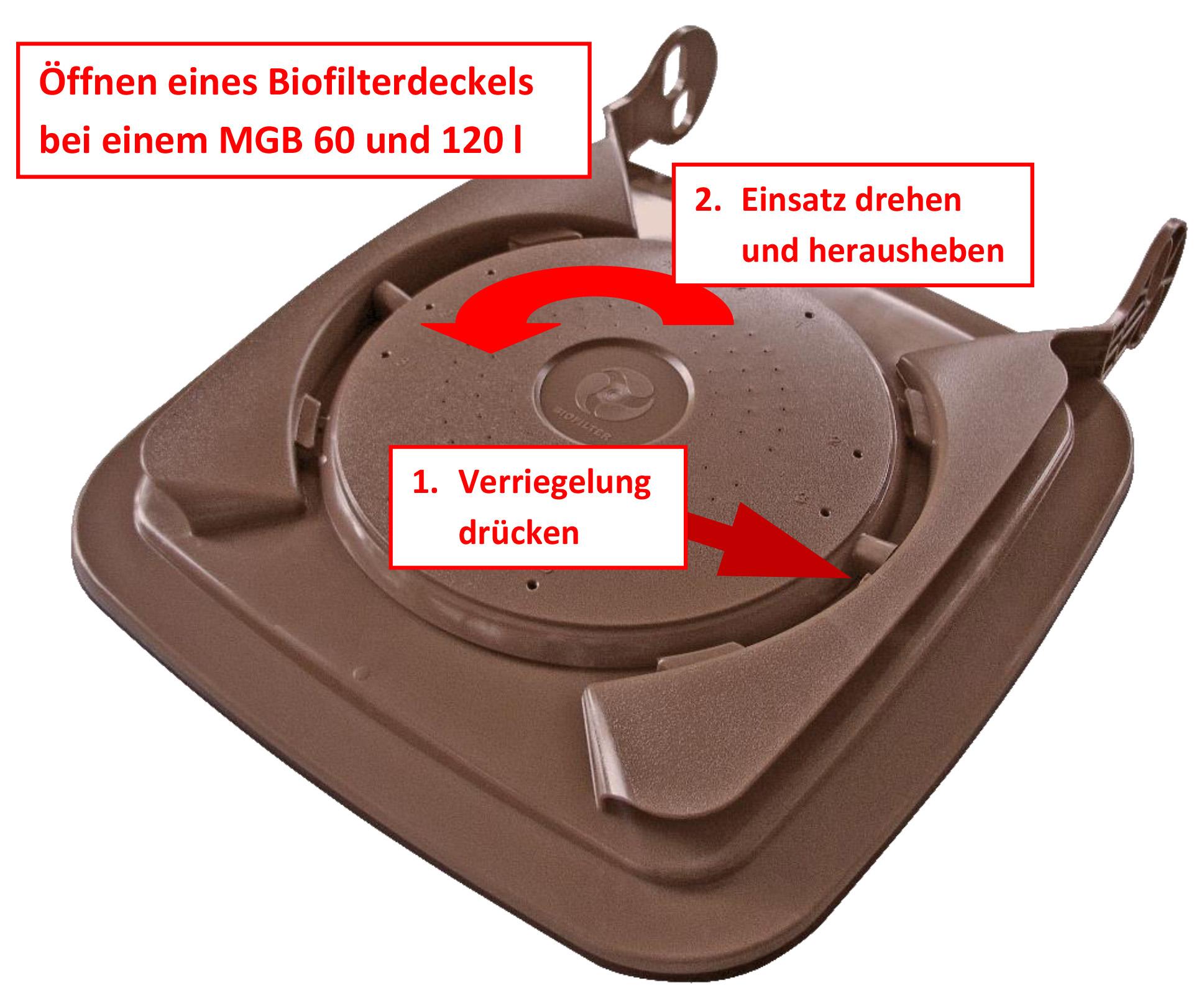 So wird der Biofilterdeckel geöffnet